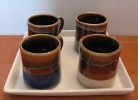 4 Vintage Drip Glaze Mugs with Tray