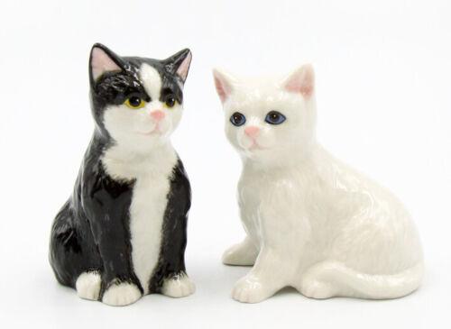 New PORCELAIN Figurine Salt & Pepper Shakers BLACK WHITE CAT KITTEN Statue