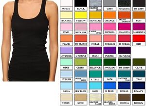 JR-WOMEN-BASIC-STRETCH-RACER-BACK-RIB-TANK-TOP-LONG-LENGTH-COTTON