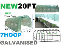 20FT X 10FT 7HOOPS Galvanised XTRASTRONG POLYTUNNEL GREENHOUSE