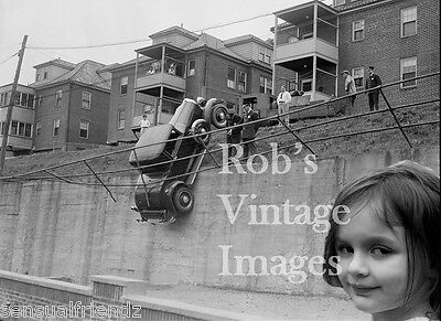 Vintage  Car car Little girl Police 1930s antique photo print