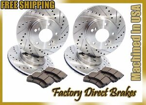 Front & Rear All 4! Drilled & Slotted Brake Rotors & Ceramic Brake Pads Evo 8 9