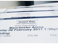 Green Day Standing Tickets Manchester Arena 6/2/17