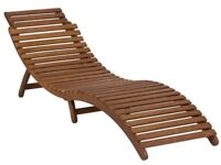 Brand new in box Wooden garden sun lounger with cushion.