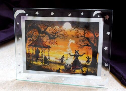 Byrum Folk Art Halloween Witches Fall Gathering PRINT Glass Frame Stars