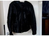 Motorcycle Jacket - Black leather Ladies - size 16