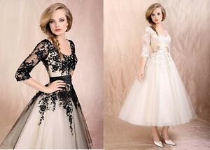 Black-Ivory-Lace-Sleeves-A-line-Wedding-Dress-Bridal-Gown-Stock-6-8-10-12-14-16
