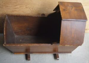 19th C PRIMITIVE ANTIQUE QUEBEC MISSION STYLE HOODED BABY CRADLE