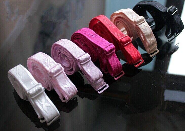 farbige BH Träger, 15 mm, elastisch, Metallverschuß