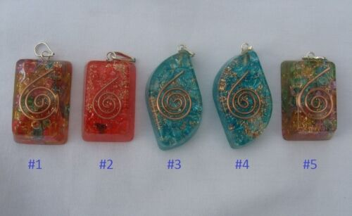 """1 Orgone Pendant W/Copper Coil 1-3/4"""" - 2"""" Message Me Shape/Color #2 #4 #5 Avail"""