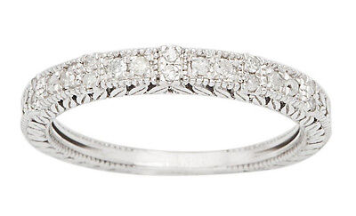 10k White Gold 1/3ct Vintage Style Engraved Diamond Wedding Band (G-H, I1-I2)