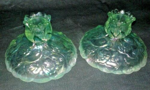 """Fenton Anniversary Lilly Green Carnival CandleHolders - 3-1/4"""" Tall (pair)"""