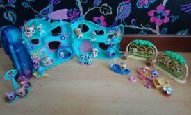 Littlest Pet Shop multiple play sets. Park & playhouse. Includes 75+ toys