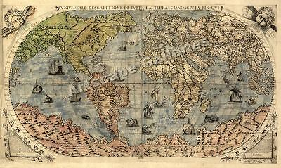 1565 Historic Large World Map Decorative Print - 14x24 on Rummage
