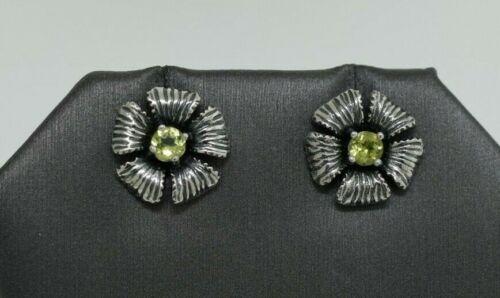 Israel Or Paz Sterling Silver Peridot Flower Stud Earrings