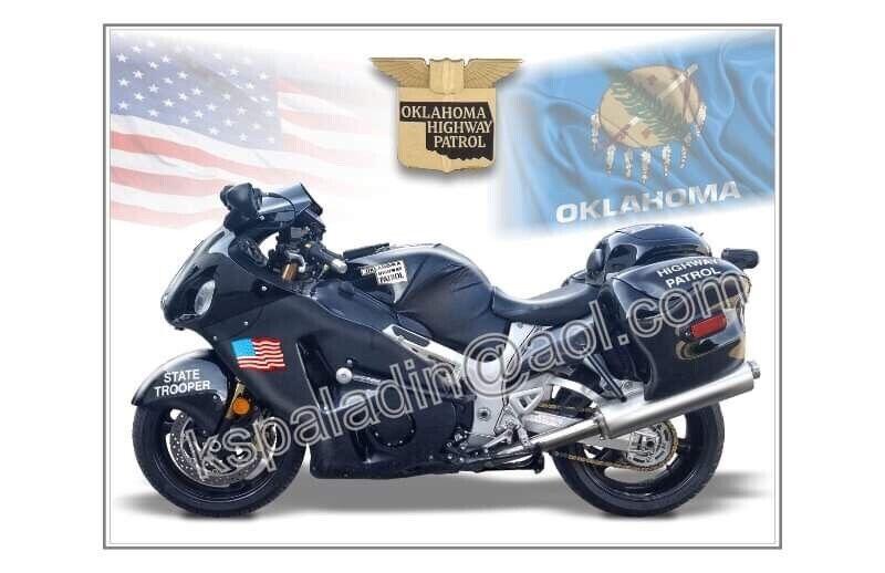 Oklahoma Highway Patrol Suzuki Hayabusa Poster Print