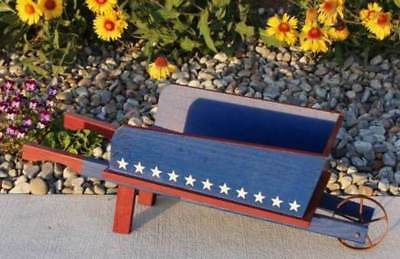 Flower Planter Wheelbarrow Americana Red White Blue Patriotic Garden Decor - Decorative Wheelbarrow