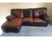 Real Leather Brown Corner Sofa £60 with Delivery
