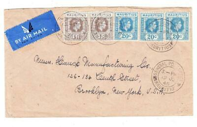 Mauritius SG#260b-1rupee value(x2)#258(x3)-GENERAL POST OFFICE 19/JU/45-AIR for sale  Shipping to India