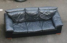 FREE TODAY 3 seater black leather style sofa