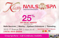 Nails, spa, eyelash extension, threading 25% off expired April 1