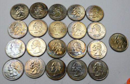 21 Washington Head State Quarters. Mixed dates and mint marks. Some are Toned