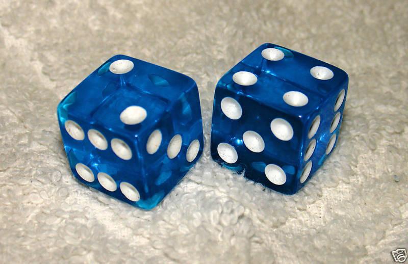 BLUE TRANSPARENT DICE PAIR