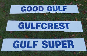Gulf 'gas and oil' signs, tin and enamel 1960's