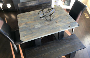 Contemporary Barn Wood Kitchen Table Set