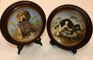 "Pair of Lynn Kaatz ""Field Puppies"" Collector Plates - Limited Ed"