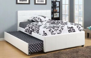 WHITE LEATHER BED WITH SQUARE TUFTING AND PULLOUT TRUNDLE