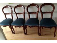 4 antique French style dining chairs shabby chic