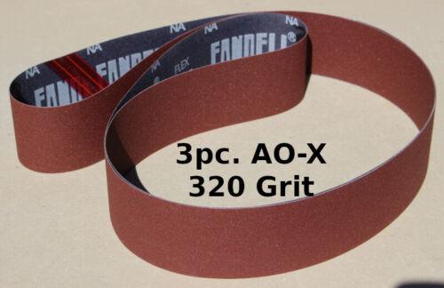 2 x 72 Inch AO-Xwt. Sanding Belts  320 Grit  - 3pc
