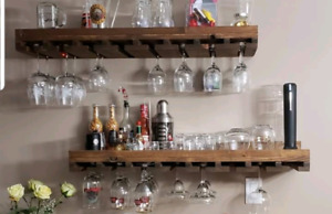 Brand new set of 2 wooden wine racks with glass storage.