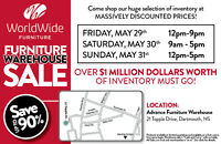 WorldWide Furniture Warehouse Sale
