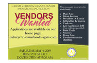 Vendors Wanted for Spring Fling and Auction
