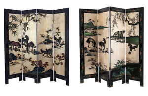 Antique Chinese Wood Folding Screens
