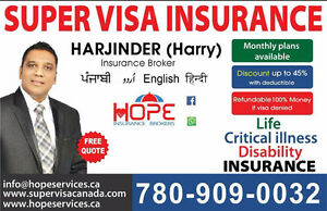 SUPER VISA INSURANCE(Monthly Plan/With Discount 45%)Best Rate