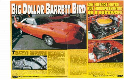 1970 PLYMOUTH ROAD RUNNER SUPERBIRD 440-6  ~ NICE 5-PAGE ARTICLE / AD