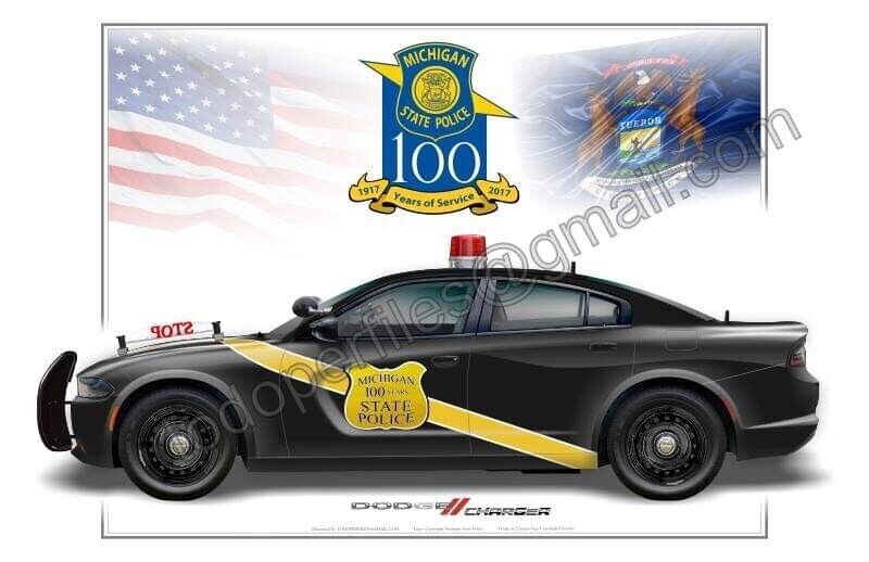 Michigan State Police 100th Anniversary Dodge Charger Poster Print