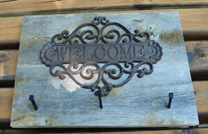 Rustic Barn Board Coat Rack - WELCOME sign
