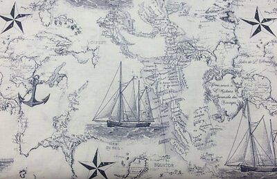 Nautical Boat Sea Ocean Chart Map Navy Blue Off White Ship Anchor Fabric a5/37
