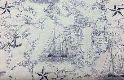 Ship Map - Nautical Boat Sea Ocean Chart Map Navy Blue Off White Ship Anchor Fabric a5/37