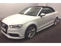 2016 WHITE AUDI A3 CABRIOLET 1.6 TDI 110 S LINE DIESEL CAR FINANCE FROM 58 P/WK