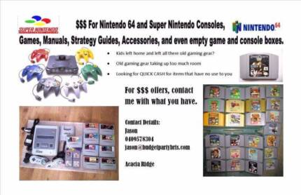 Wanted: I'LL BUY YOUR OLD GAMING ITEMS. NINTENDO & MORE. MAKE QUICK $$$