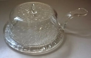 Vintage Clear Glass Cheese Dome with Handle