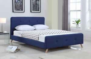 Deep Blue Queen bed frame (fabric) Old Guildford Fairfield Area Preview