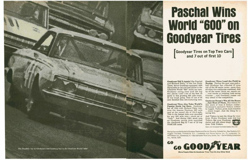 1964 PLYMOUTH BELVEDERE  ~  JIM PASCHAL WORLD 600  ~  NICE 2-PAGE GOODYEAR AD