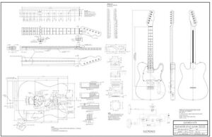 Manufacturing Drawings for building Telecaster Electric Guitar
