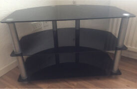 Black Glass and Silver TV Unit